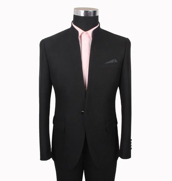 Black Wedding Tuxedos Slim Fit Suits For Men Groomsmen Suit Two Pieces Cheap Prom Formal Suits (Jacket+Pants+Tie) 061