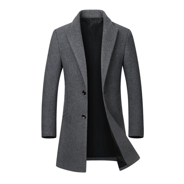 Winter Men's Long Woolen Coat Casual Thick Slim Fit Jacket Erkek Mont Palto Peacoat Male Casaco Masculino Overcoat Trench Coat T2190614