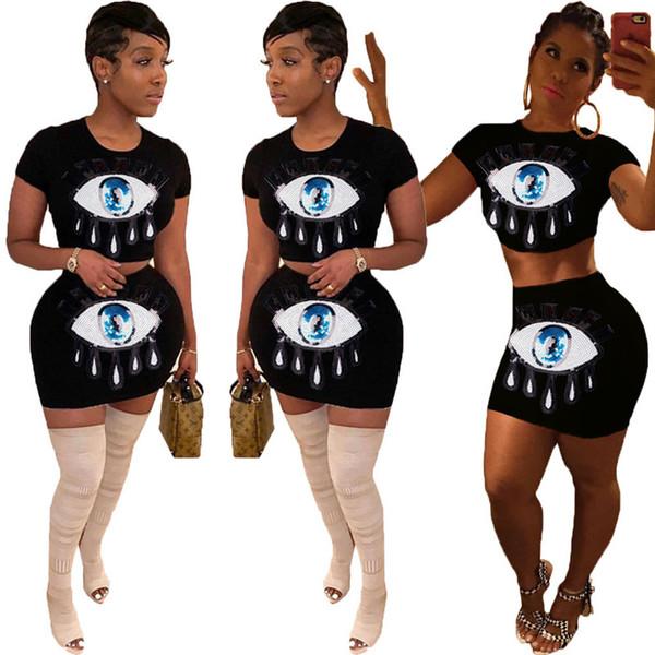 Survêtement d'été femme paillettes sport costume de sport à manches courtes Crop Top + robe sur la jupe au genou 2pcs tenue mode rue Jogger Set A32501