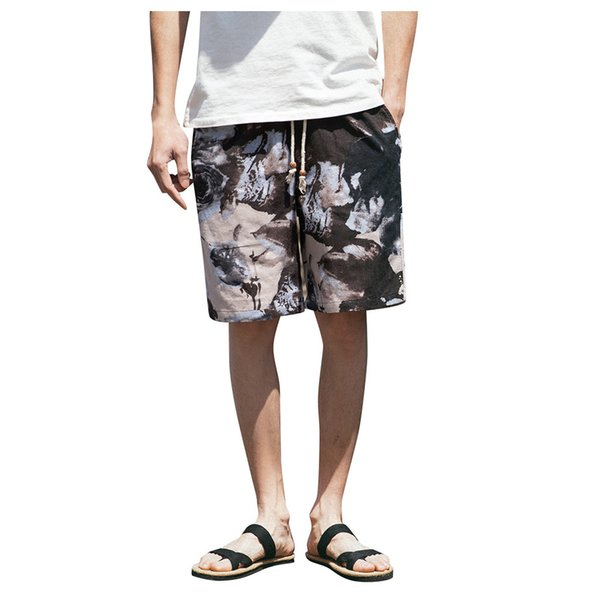 13c487f4f9 Beach Shorts Men Summer Hawaii Men linen Shorts Loose Mens Straight  Comfortable Drawstring Casual Hip Hop