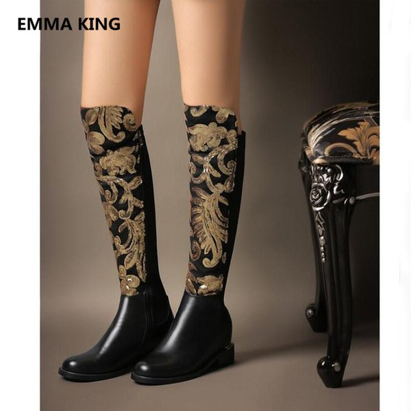 2019 vintage women knee high flat boot round toe gold bling designer ladies winter shoes woman roman long motorcycle knight boot - from $122.09