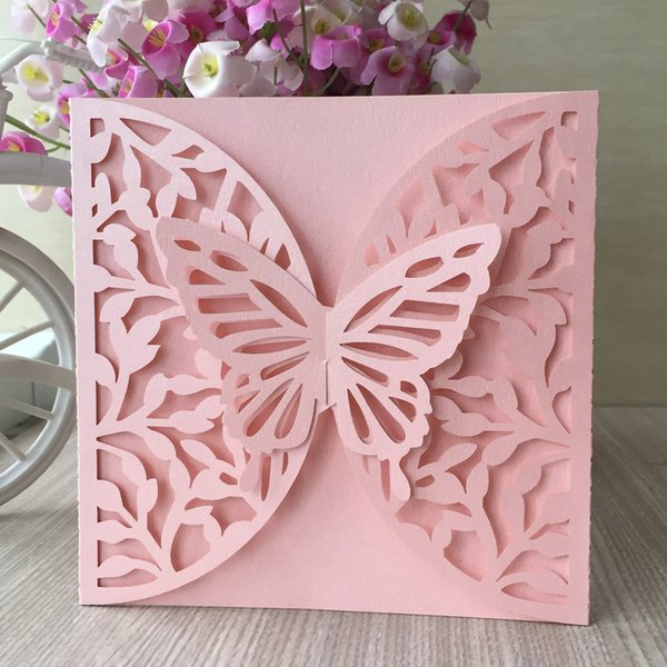35PCS /lot Hollow Big Butterfly Wedding Invitation Cards Marriage Ceremony Festival Beautiful Gift Cards Lace Design Supplies