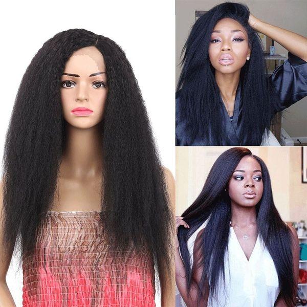 Larga de Yaki recto rizado pelucas de pelo sintético de la peluca del frente del cordón de la Mujer recto rizado natural Negro Afro rizado pelucas