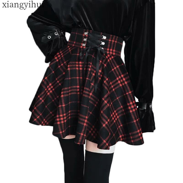 Gothic Lolita Skirt Women Ladies Winter Black Red Plaid Pleated Ball Gown 2018 New Arrivals High Waist Lace Up Wool Skirt Bottom J190626