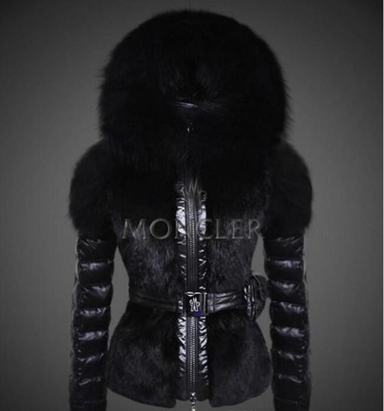 2019 Известных зимы женщин шерсти Fox Белая утка пуховик женщин конструктора Zipper Короткого капюшон зима теплые пальто