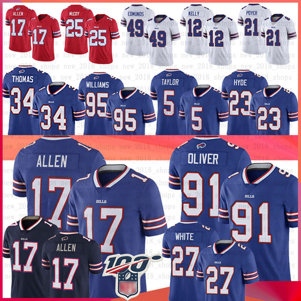 17 Josh Allen forması Bill 49 Tremaine Edmunds 12 Kelly 95 Kyle Williams 21 Poyer LeSean McCoy 34 Thurman Thomas Beyaz Forma