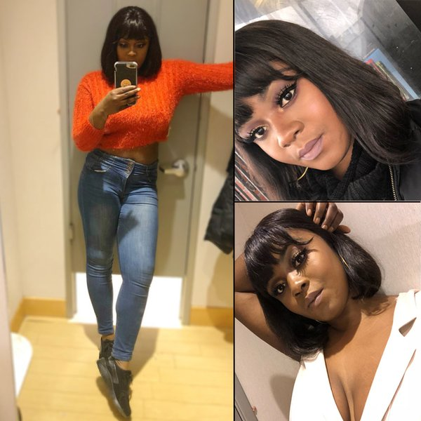 Unprocessed new remy virgin human hair natural color medium natural straight bob with bangs full front lace wig for women