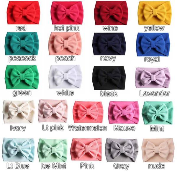 New Arrival Turban Popular 5'' Big Hair Bow Headband For Girls Headwrap Textured Fabric Elastic Kids DIY Hair Accessories 21styles