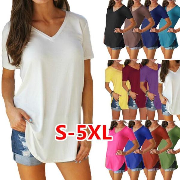 Großhandelsfrauen-T-Shirt unregelmäßiges T übersteigt feste V-Hals-T-Shirts Mischungs-Farben lösen kurzen Hülsen-Pullover grundlegende einfache Spalte Dhl-freies Verschiffen