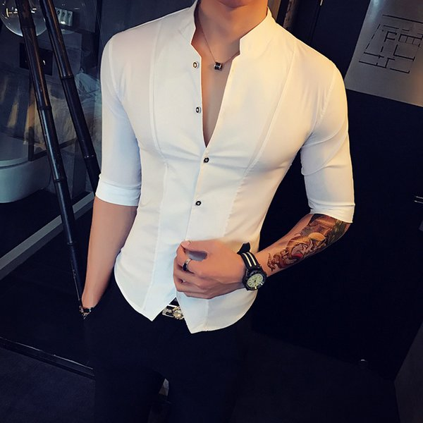 Stand Collar Chinese Style Slim Fit Korea Clothes Men Half Sleeve 2018 Summer Designer Club Shirt Camisa Masculina C19040302