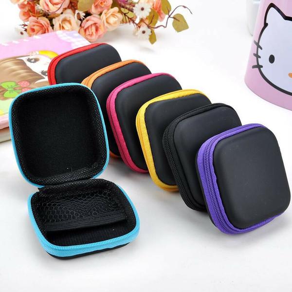 7 cores Mini Zipper Fone de Ouvido caixa de Proteção USB Organizador de Cabo Fidget Spinner Sacos de Armazenamento Fone De Ouvido Caso PU Couro Fones de Ouvido Bolsa QQA411