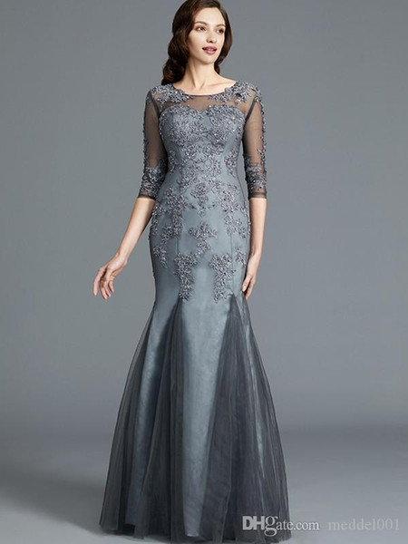 Gorgeous Mermaid Floor Length Chiffon 3/4 Sleeve Mother Of The Elegant MBridal Dresses Jewel Appliques Lace Beaded Sexy Mother Evening Gowns
