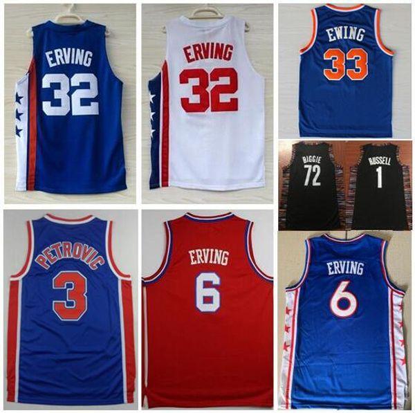 best selling #33 Patrick Ewing Jersey #6 Ewing #32 Julius Erving Jersey #3 Drazen Petrovic #8 Spencer Dinwiddie #72 Biggie 1# Russell Williamson Jersey