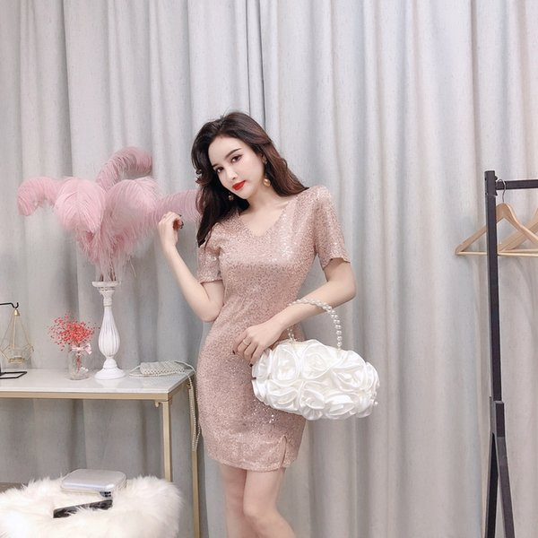 New Korean Summer 2019 Sexy Women Clothing Nightclub Wear V-neck short-sleeved Sequined Party Beach Dress Splitting Short Skirt QC0161