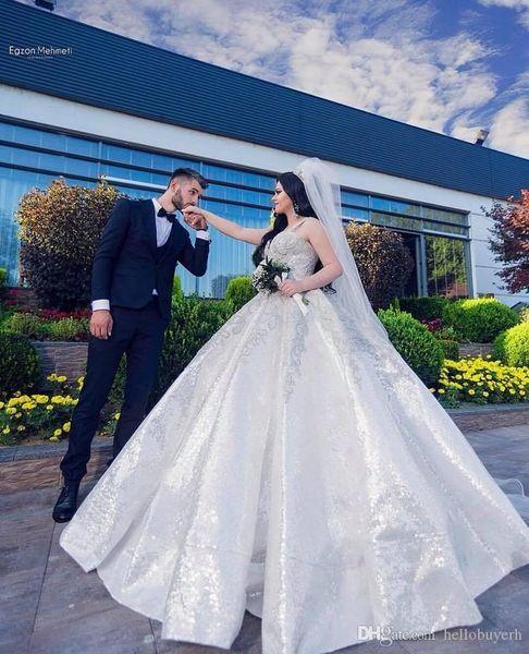 Vestido de bola de encaje con lentejuelas Berta vestidos de novia elegante vestido De Novia De Sirena boda vestido de invitado con cuentas 2019