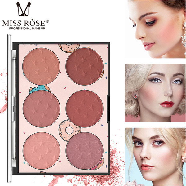 6 cores Blush Palette ficial maquiagem profissional de longa duração Rosto Blush Faça de cima Mulheres Disk Cosmético Natural Blush Set