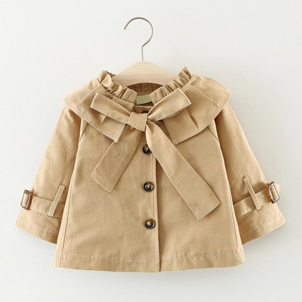 Baby Girls Trench Coats Autumn For Fashion Kids Clothes Cotton Long Sleeve Toddler Children Outerwear Bow-knot Girl Windbreaker