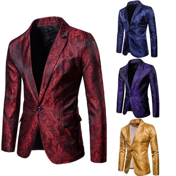 Homens à moda Casual Slim Fit Formal Um Botão Terno Blazer Casaco Jaqueta Tops Ouro Vermelho Roxo Azul Marinho M-3XL