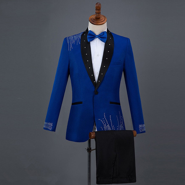 Mens Vintage Wedding Tuxedos Royal Blue Sequins Black Shawl Lapel Groom Wear Pants Suits Formal Men Prom Party Jackets Blazer (Jacket+Pants)