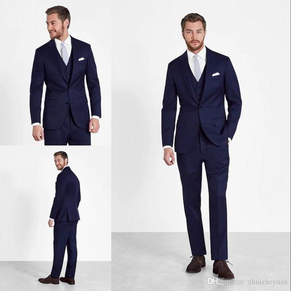 Costumes De Mariage Bleu Foncé Pas Cher Pour Hommes Slim Fit Grooms Tuxedos Trois Pièces Hommes Costumes De Fête (Veste + Gilet + Pantalon)