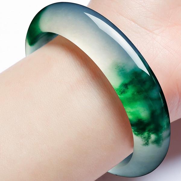 Jade braccialetto verde naturale genuino braccialetto di fascino di gioielli Accessori di moda Mano-Intagliata regalo amuleto per le donne i suoi uomini