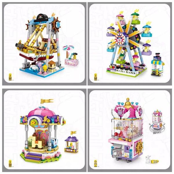 Buliding Blocks Klaue Spiel Puppe Maschine Kirmes Piratenschiff Riesenrad Merry Go Round Kinder Fuuny Hing Qualität Spielzeug Mit Farbenkasten