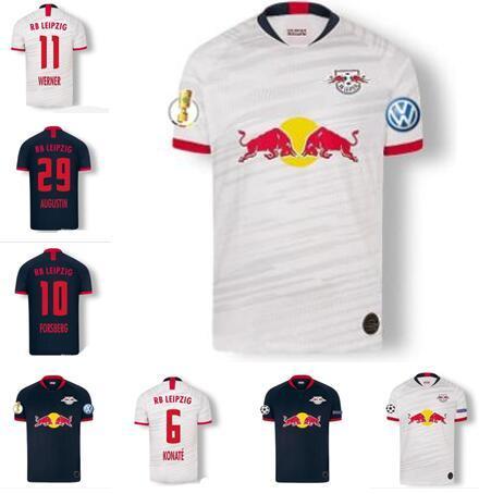 RBL 19 20 WERNER maglie di calcio Sabitzer 2019 2020 FORSBERG Halstenberg Leipziges POULSEN LOOKMAN del calcio di calcio della camicia maglie