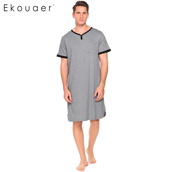 Ekouaer Men Long Nightshirt Sleepwear V Neck Short Sleeve Contrast Color  Pocket Loose Sleepshirt Homewear Clothes 85814304d