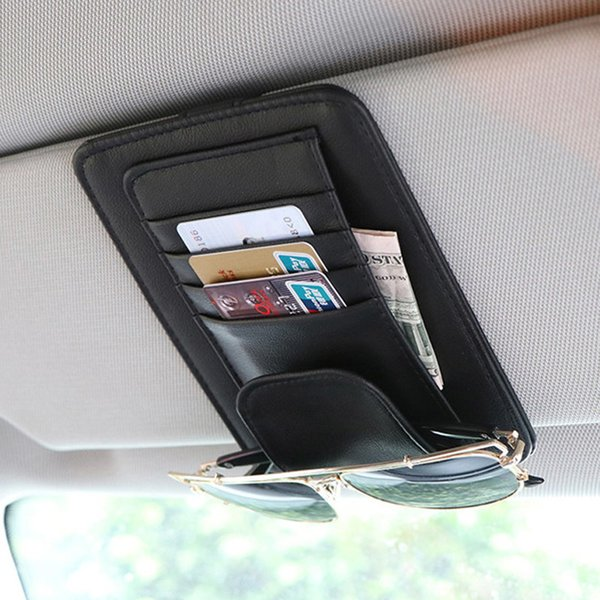 Universal Car Auto Organizer Holder Pu Leather Case For Glasses Car Accessories Sun Visor Organizador Car-styling
