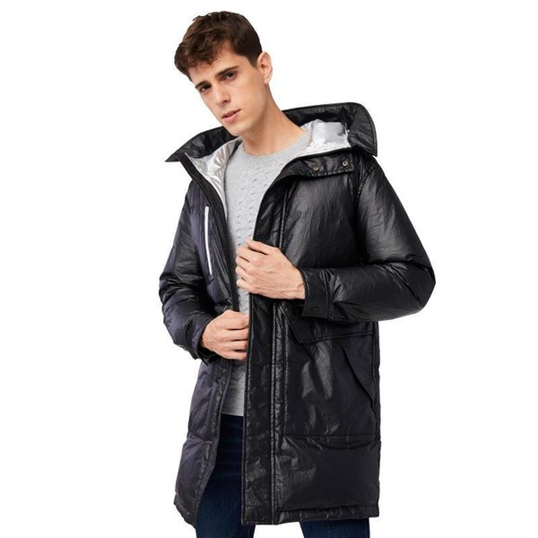 2019 new mens winter medium-long down jacket windproof hooded outerwear silver inside with fashion big pocket