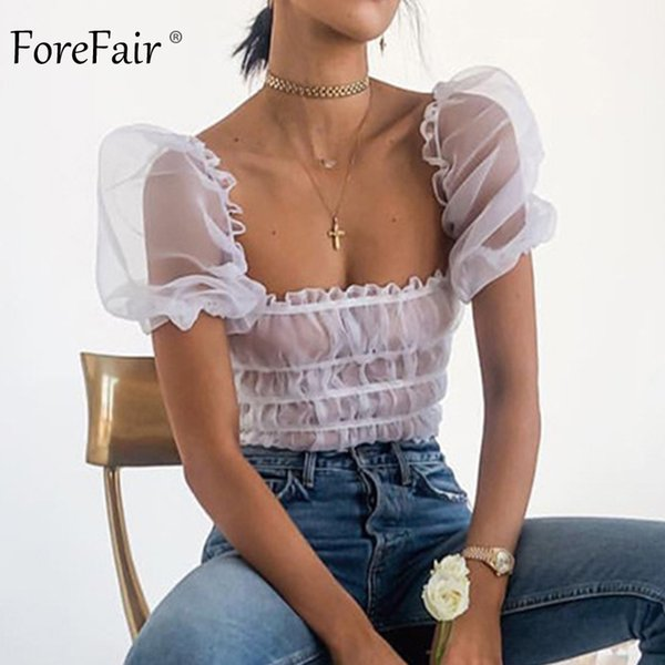 Forefair Sexy Puff Sleeve White Summer Sheer Off Shoulder Top See Through Mesh Ruffle Clothes Korean Tunic Blouse Women Q190521
