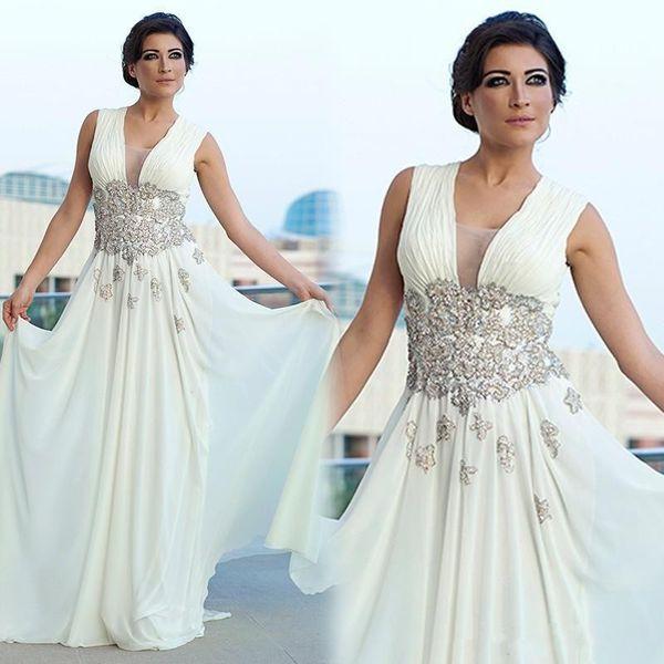 2019 árabe Kaftan largo de gasa madre de los vestidos de novia V cuello abalorios de encaje baratos vestidos de noche formales más tamaño boda vestido de invitado