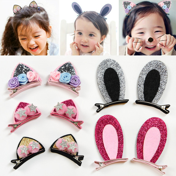 2pcs/Set Cute Hair Clips For Girls Glitter Rainbow Felt Fabric Flowers Hairpins Cat Ears Bunny Barrettes Kids Hair Accessories Party Gift
