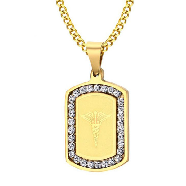 18K Gold Plated Fashion Surgical Steel Medical Alert Pattern CZ Inlay Dog Tag Iced Out for Men Women