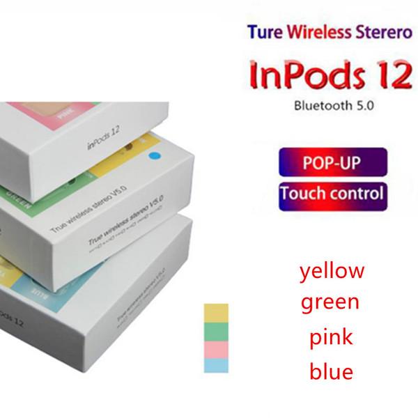 Neueste Macaron inpods 12 TWS Kopfhörer drahtlos Bluetooth 5.0 Kopfhörer Unterstützung Pop-up-Fenster bewegliche Kopfhörer mit Ladebox pk i88 v8