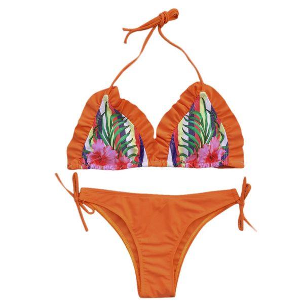 Liva Girl Sexy Underwear Femmes D'été New Sexy Mince Halter Profonde V-cou Push Up Sous-vêtements chaud-vente Vintage Print Bra Set