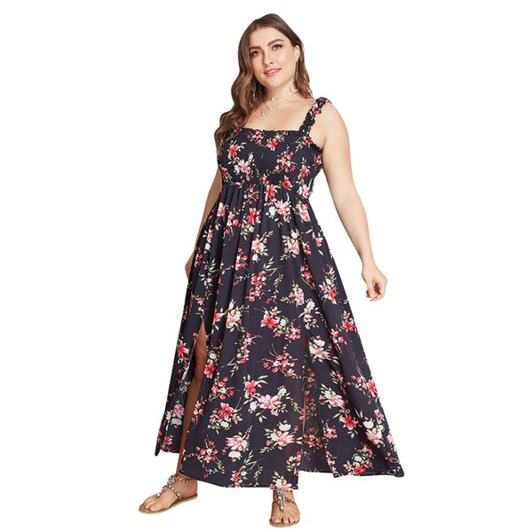 Boho Style Long Dress Plus Size XL 4XL Women Off Shoulder Beach Summer Lady  Dresses Floral Print Vintage Maxi Dress Vestidos J190550 Black And White ...