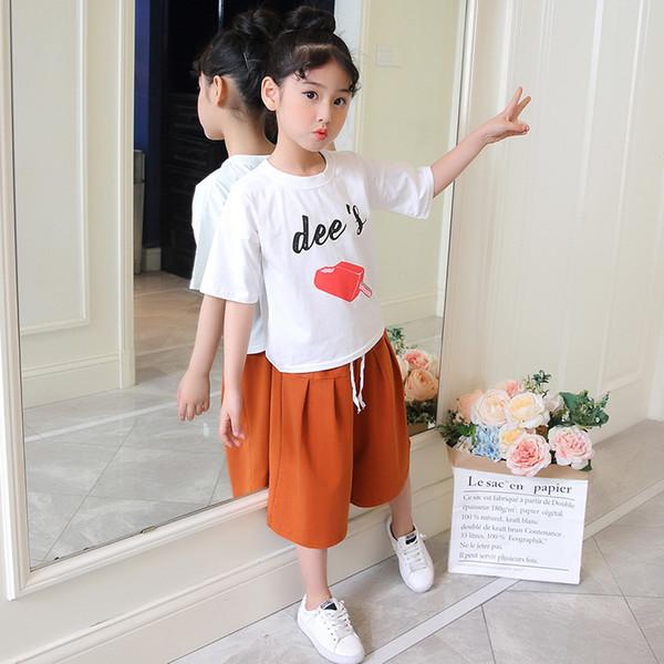 comprare popolare 3e02b 467a5 Acquista Abbigliamento Ragazze 2019 Estate Bambini Bambini Imposta Lettere  Girocollo Il Tempo Libero Girocollo A Maniche Corte + Pantaloni Larghi Le  ...