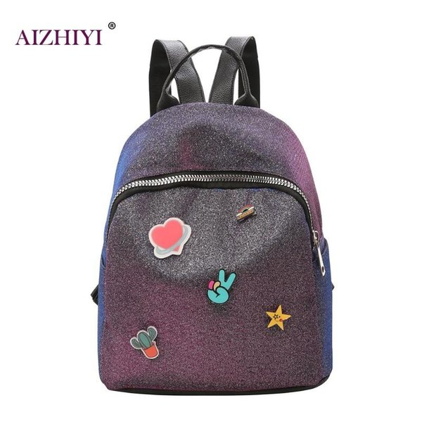Shining Sequin Small Backpack Women Shoulder Bag Leather Travel School Bags