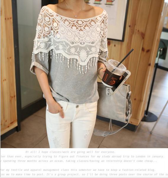 New Fashion Women Lace Blouse Shirt Ladies Casual Summer Tops Hollow Crochet Shawl Collar Sheer Blouses Black Plus Size M-5XL