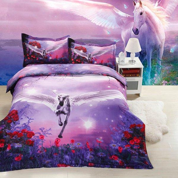 Biancheria da letto piumone 3D per cavalli Biancheria da letto King matrimoniale Queen Size Copripiumino per la famiglia Biancheria da letto di lusso Set trapunte Copriletto Copriletto