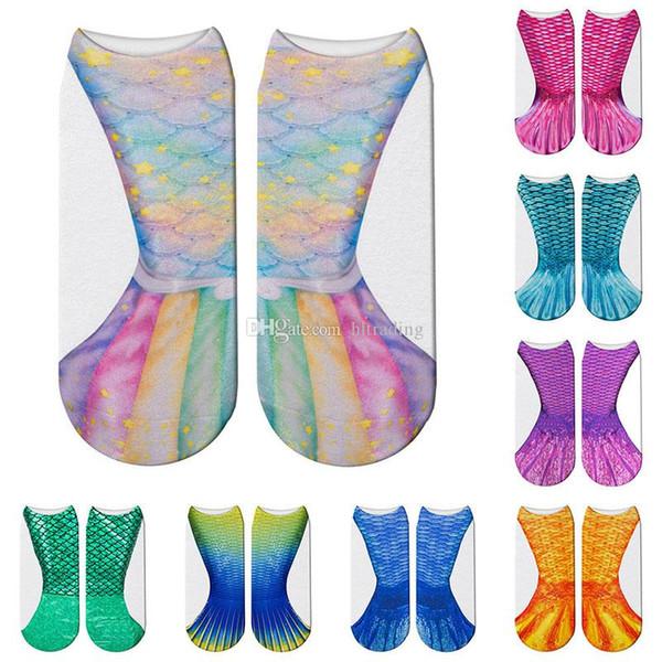 3D Hayvan Denizkızı Çorap Cosplay Balık ölçeği Baskılı Çorap Çocuk yetişkin Ev Sıcak Çorap Için 14 Stilleri C6171