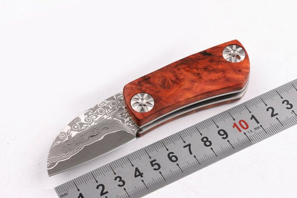 Outdoor gear Damascus Blade Tactical Folding Knife Wood Handle Utility Pocket EDC Tool Survival Camping Rescue Hunting Knives P247R F