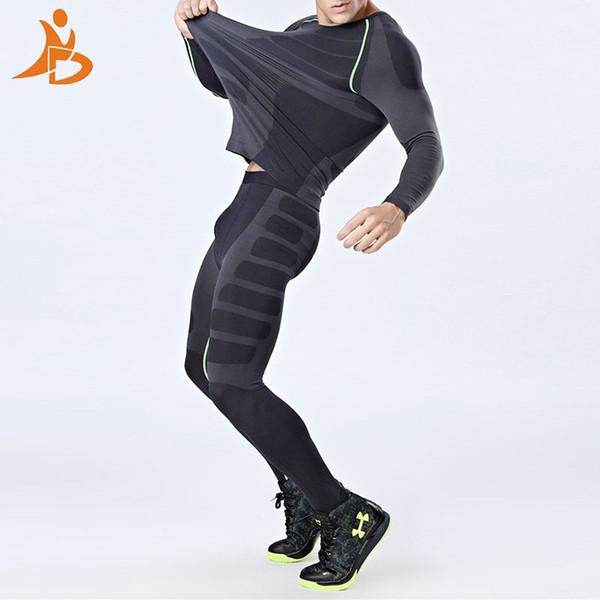 YD Nueva Compresión de Secado rápido Chándal Hombres Entrenamiento Fitness  Camisa de manga larga Pantalones Hombre a5b1f4f0dd21
