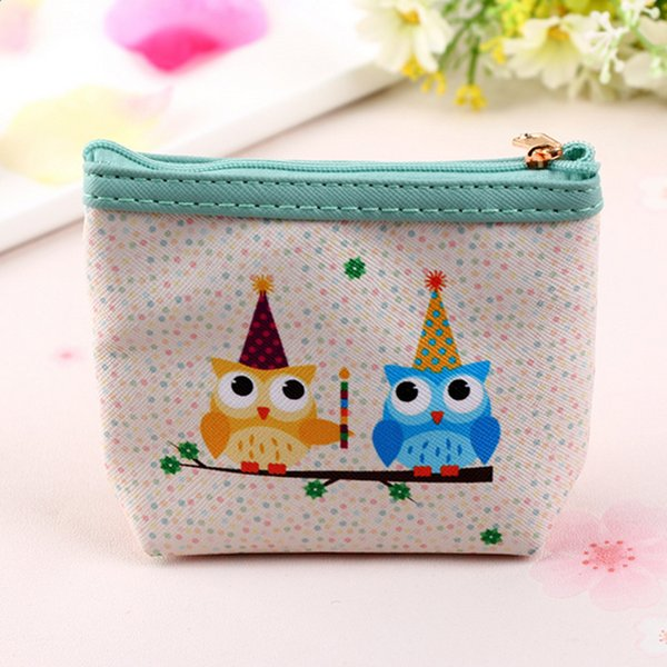 New Kawaii Cute Cartoon Owl Print Coin Purse Canvas Zipper Small Wallet Women Card Cash Clutch Waller Pouch