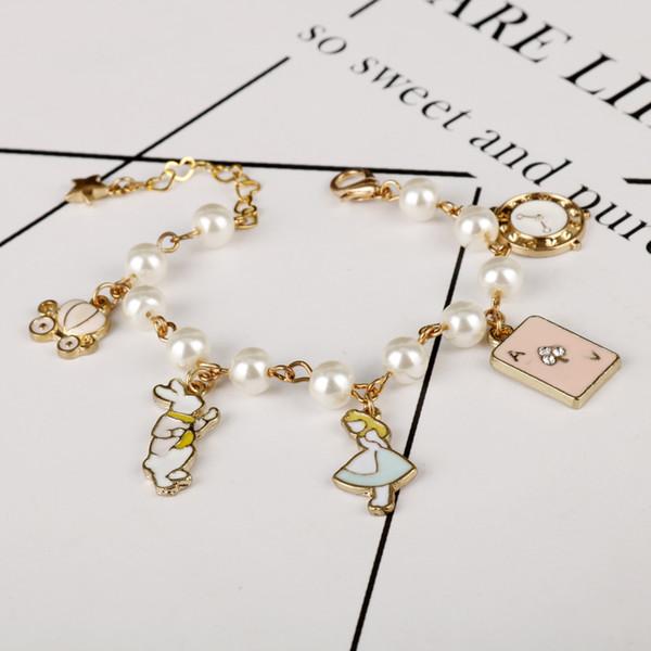 MQCHUN gioielli accessori moda donna carino alice nel paese delle meraviglie di clock di coniglio fascino del braccialetto della catena a maglia di perle imitazione
