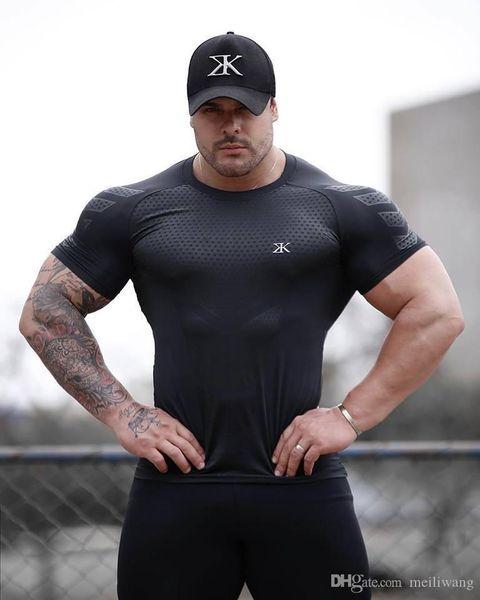 Quick Dry Compression Men's Short Sleeve T-Shirts Running Shirt Fitness Tight Tennis Soccer Jersey Gym Demix Sportswear