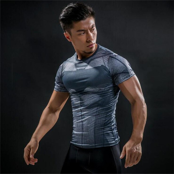 Free Shipping Short Sleeve 3D T Shirt Men T-Shirt Male Crossfit Tee Captain America t shirt Men Fitness Compression Shirt 4XL J10