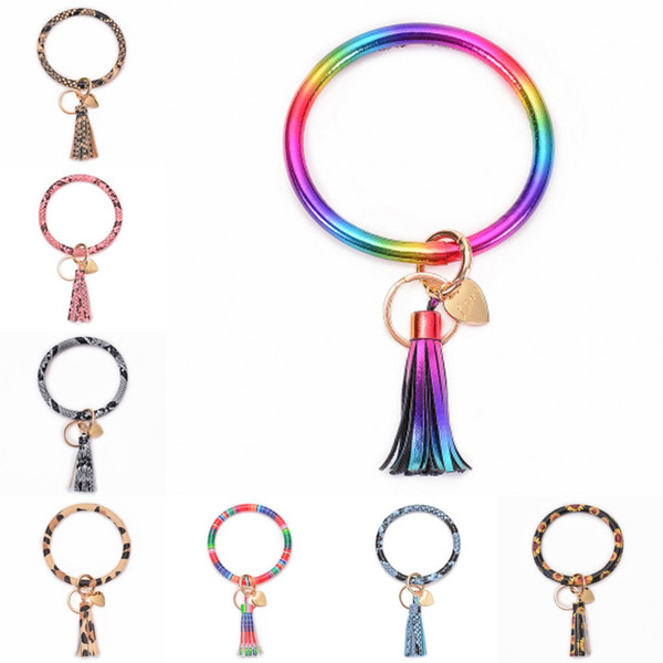 New Style Wristlet Keychain Bracelet High Quality Leather Big O Key Ring with Tassel for Women Girls Handbag Ornament Car Keychains M254Y