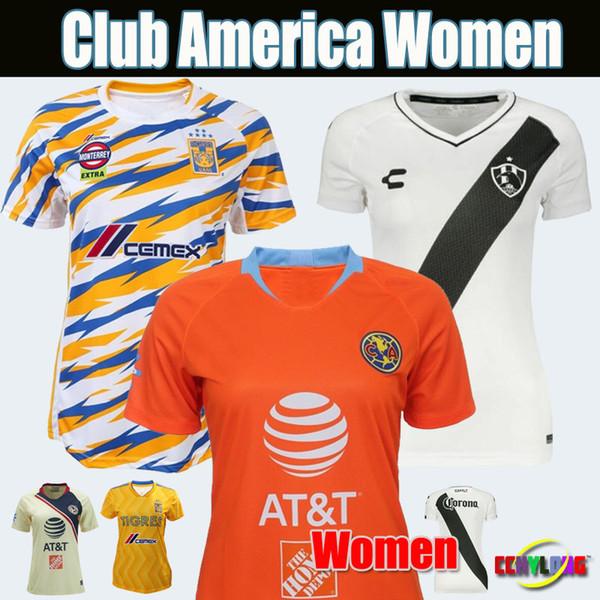 Women Jerseys 2019 Mexico Club America Third Women Soccer Jersey Thailand 19/20 Club de Cuervos Chivas Tigres Girls 2018 Football Shirts